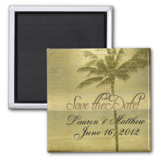 Beach theme save the date square magnet