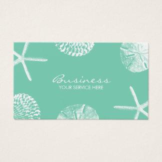 Beach Theme Seashells Stylish Mint Green Business Card