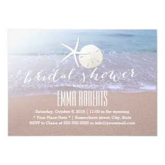 Beach Theme Starfish & Sand Dollar Bridal Shower Card