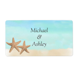 Beach Theme Wedding Favor Labels