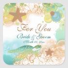 "Beach theme wedding favour ""For you"" Square Sticker"
