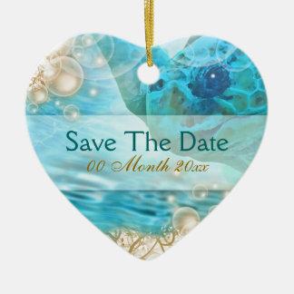 "Beach theme wedding ""save the date"" turtle ceramic ornament"