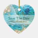 "Beach theme wedding ""save the date"" turtle ceramic heart ornament"