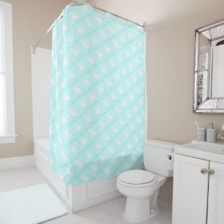Beach Themed Aqua Shower Curtain with Crab