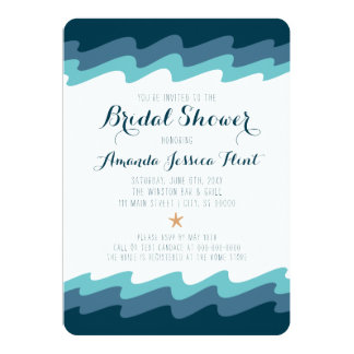 Beach Themed Bridal Shower Invitation  - Blue Wave