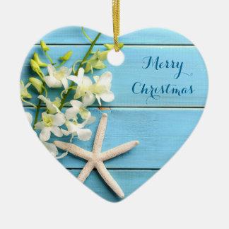 Beach Themed Christmas Ornaments Heart Starfish