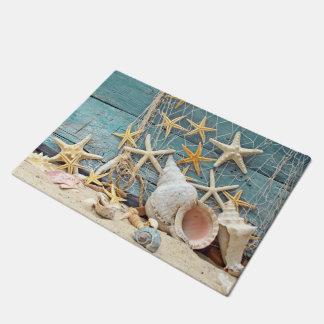 Beach Themed Conch Shell, Starfish & Fishing Net Doormat