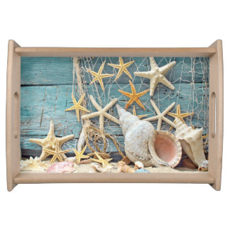 Beach Themed Conch Shell, Starfish & Fishing Net Serving Tray