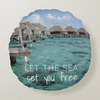 Beach Themed Pillow with Ocean Background
