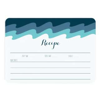Beach Themed Recipe Card - Blue Wave
