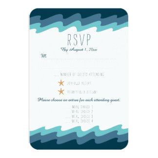 Beach Themed RSVP Card - Blue Wave w/ Meal Choices