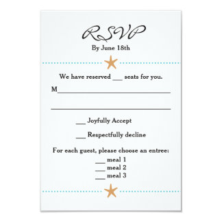 Beach Themed RSVP Card w/ Starfish Accents
