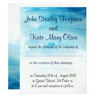 Beach themed wedding invitation, blue watercolor. card