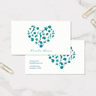 Beach Things Teal Watercolor Modern Chic Elegant Business Card
