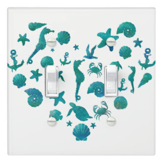 Beach Things Teal Watercolor Modern Chic Elegant Light Switch Cover