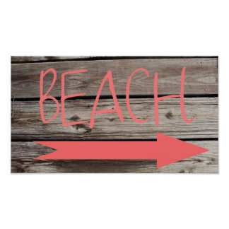 Beach This Way Faux Wood Poster