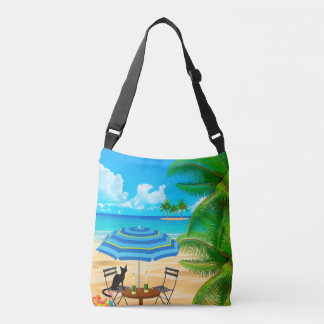 BEACH TIME. BLACK CAT AT THE BEACH SUMMER VACATION CROSSBODY BAG