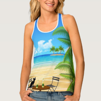 BEACH TIME. BLACK CAT AT THE BEACH SUMMER VACATION TANK TOP