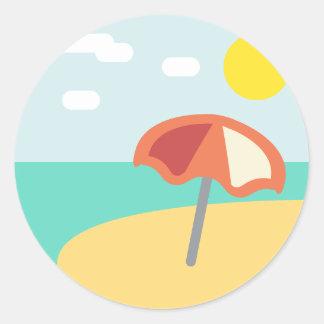 Beach Time Emoji Classic Round Sticker