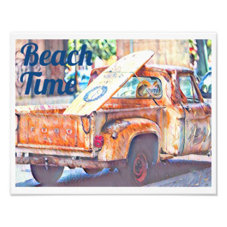 Beach Time: Truck with Surfboard Photo Print