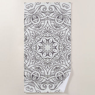 Beach Towel Drawing Floral Doodle G2