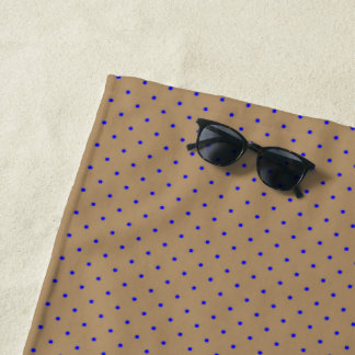 Beach Towel Gold with Royal Blue Dots