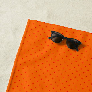 Beach Towel Orange with Red Dots