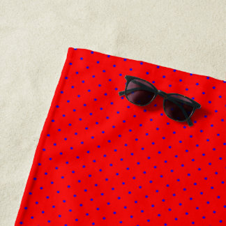 Beach Towel Red with Royal Blue Dots