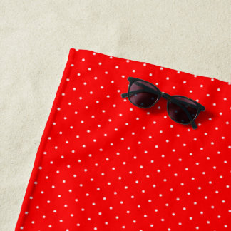 Beach Towel Red with White Dots