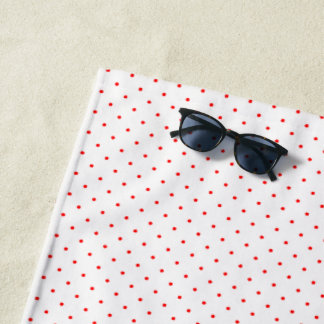 Beach Towel White with Red Dots