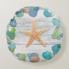 Beach Treasures Glass, Shells, Driftwood Round Pillow