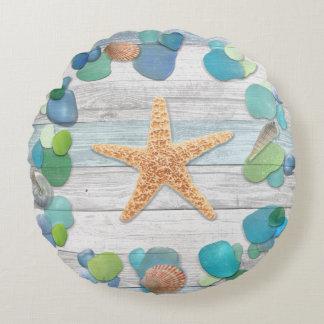 Beach Treasures Glass, Shells, Driftwood Round Pillow