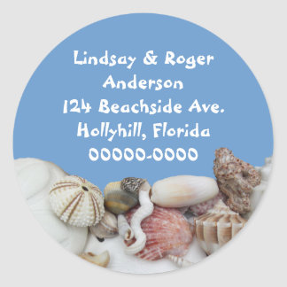 Beach Treasures on Blue, Address Label