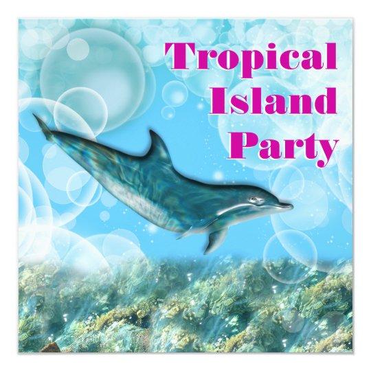 Party Island Beach: Beach Tropical Island Birthday Party Card
