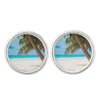 Beach tropical palm tree ocean paradise photo cufflinks