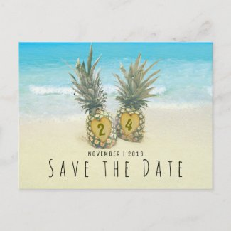 Beach Tropical Pineapple Save the Date Announcement Postcard
