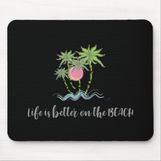 Beach Tropical Style Summer Graphic Black Mouse Pad