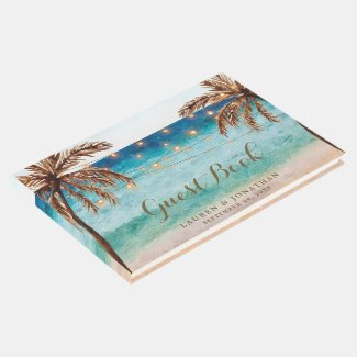 Beach tropical summer wedding guest book