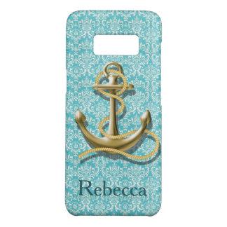 beach turquoise damask sailor nautical anchor Case-Mate samsung galaxy s8 case