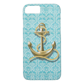 beach turquoise damask sailor nautical anchor iPhone 8/7 case