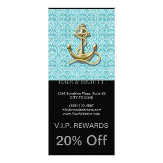 beach turquoise damask sailor nautical anchor rack card design