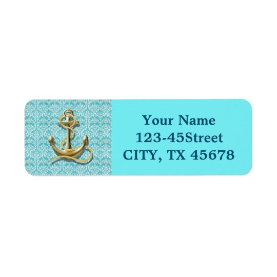 beach turquoise damask sailor nautical anchor return address label