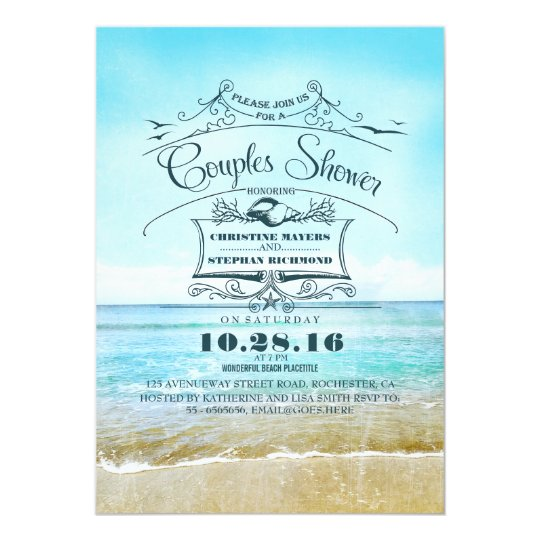 beach turquoise ombre sea couples shower card