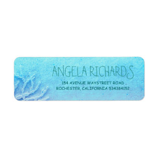 Beach Turquoise Ombre Wedding Return Address Label