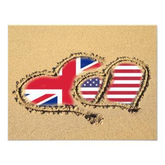 Beach UK And USA Love Hearts Card