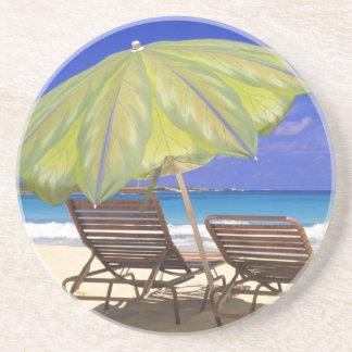 Beach Umbrella, Abaco, Bahamas Beverage Coasters