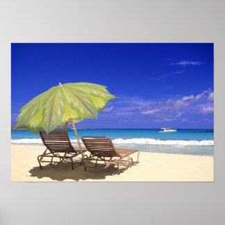 Beach Umbrella, Abaco, Bahamas Poster