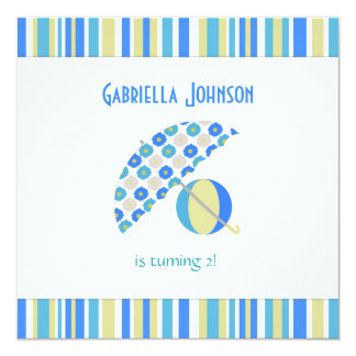 Beach Umbrella Birthday Party Invitation