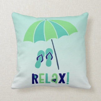 Beach Umbrella Relax Its Good For Your Health Throw Pillow