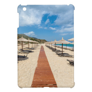 Beach umbrellas and loungers at greek sea case for the iPad mini